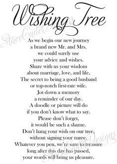 Custom Printable Wedding Wishing Tree Sign by StaceCadetDesigns, $10.00
