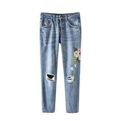 """New Trending Denim: Women Ripped Embroidery Jeans femme Plus Size Vintage Ladies Blue Denim Pants Pencil Casual Jeans (Asian Size L, Blue). Women Ripped Embroidery Jeans femme Plus Size Vintage Ladies Blue Denim Pants Pencil Casual Jeans (Asian Size L, Blue)  Special Offer: $18.50  299 Reviews Item type: Jeans Style:Straight Material:Polyester Waist Type:MidShipped from: China Size S:Waist : 26.8 """" Hip : 35.8..."""