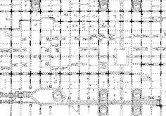"""Traffic study"" Louis Kahn's diagram of existing traffic movement for his Philadelphia Planning Study"