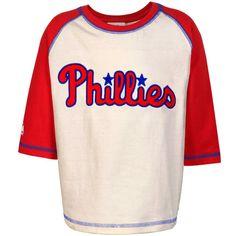 7f51cf154 Majestic Philadelphia Phillies Toddler Wordmark Raglan T-Shirt -  Red Natural Phillies Game