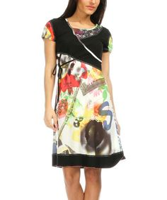 Look what I found on #zulily! Black & Green Abstract Shift Dress - Women #zulilyfinds