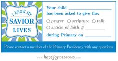 I Know My Savior Lives (2015 LDS Primary Theme) designs available, plus free Primary reminder card printable!