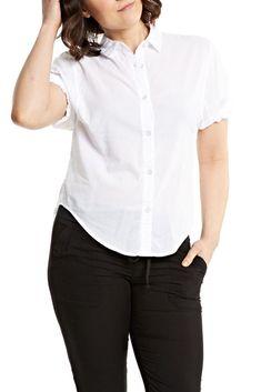 Splendid Voile S/S Boyfriend Shirt in White