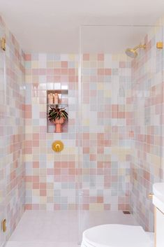 Oh Joy! Guest Bathroom featured in Domino Magazine | Fireclay Tile Pastel Bathroom, Art Deco Bathroom, Bathroom Ideas, Bathroom Goals, Bathroom Inspiration, Bathroom Interior, Soft Summer Color Palette, Fireclay Tile, Shower Floor Tile