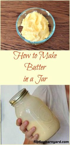 How to make butter in a jar. Homemade butter is the best. making butter with cream is so easy. Whole Food Recipes, Cooking Recipes, Healthy Recipes, Amish Recipes, Healthy Fats, Cooking Tips, Easy Recipes, Amish Butter, Churning Butter