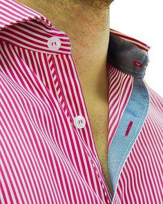 Red White Vertical Stripe Designer Dress Shirt   Stone Rose - REDWHITE