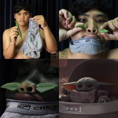 """Master budget cosplayer Anucha """"Cha"""" Saengchart of Lowcostcosplay (previously) shows how to cosplay as Baby Yoda using a pair of underwear, a chili pepper Memes Humor, Funny Memes, Hilarious, Bra Humor, Funny Videos, Best Cosplay Ever, Mandalorian Cosplay, Star Wars, Image Macro"""