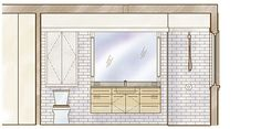 "In this ""Drawing Board"" article, architect Duncan McPherson shares his ideas for finishing the master bath in <em>FHB's</em> Project House. Believing that a bathroom should be a calming space, he recommends a white toilet and off-white and light neutral tones for the walls, ceiling, and linen cabinet. This will allow a natural-wood vanity to become the main focus of the room. Keeping things simple, McPherson recommends classic metal finishes on the faucets, showerhead, cabinet hardware, and…"