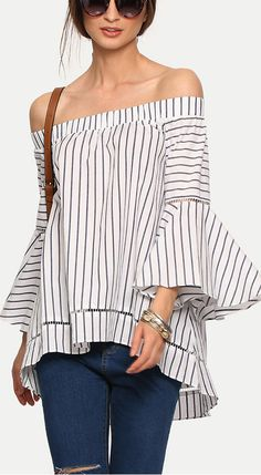 Multicolor Striped Off The Shoulder Bell Sleeve Blouse  40% Off your first order. More surprises at shein.com!!