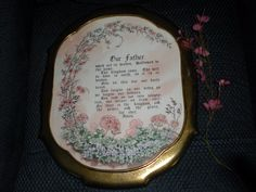 """Vintage (1970s) Home Interior """"The Lord's Prayer"""" Gold Metal Framed Wall Hanging"""
