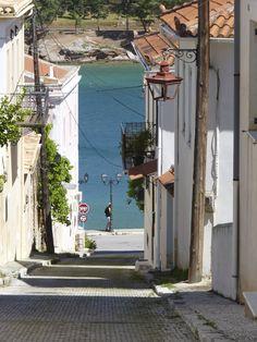 Little street in Galaxidi, Greece