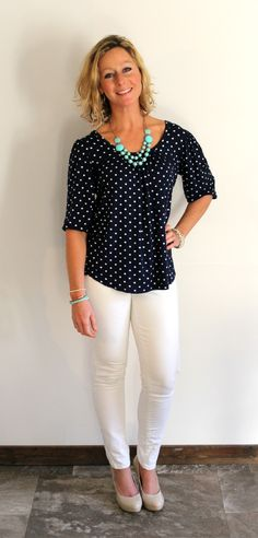 Tracy Dot Print Cross Back Knit Top (Primally Inspired) this style would be really cute with shorts too.