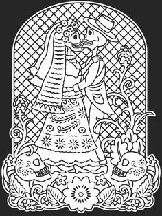 day of the dead coloring pages | Copy the images from this page, enlarge, and color for your own art ...
