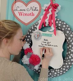 love note wreath at Tatertots and Jello