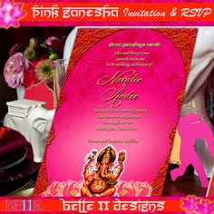 Printable Bollywood Wedding Invitation Set Pink by Belle11Designs, $18.50