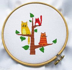 Counted cross stitch pattern, Instant Download, Free shipping, Cross Stitch PDF, Cats on a tree