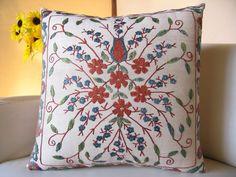 Hand Embroidered Suzani Pillow Cover, housewares, home decor, pillow, 18x17, sofa pillow, Decorative Pillow, Accent Pillow, 4308. $98.00, via Etsy.