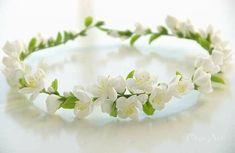 Handmade Headbands, Floral Headbands, Polymer Clay Flowers, Polymer Clay Jewelry, Biscuit, Bridesmaid Headpiece, Flower Hair Pieces, Flower Hair Accessories, Flower Crown Wedding