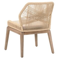 Set of Two Luca Sand Woven Dining Chairs Back