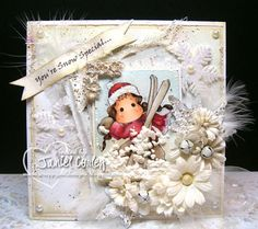 WHITE on WHITE with Snow Ski Tilda by scrappy jan - Cards and Paper Crafts at Splitcoaststampers Handmade Christmas Crafts, Christmas Projects, Magnolia Colors, Magnolia Stamps, Paper Smooches, Winter Cards, Pretty Cards, Copics, Scrapbooking