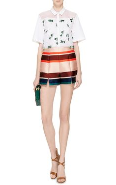 Multicolor Striped Jacquard Shorts by MSGM Now Available on Moda Operandi