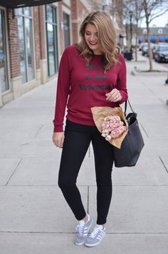 cute valentines day casual outfit - wine is my valentine sweatshirt. Click through for all of the outfit details! | www.bylaurenm.com