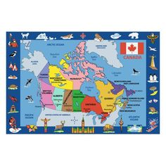 Fun Rugs Fun Time FT-132 Map of Canada Area Rug - Multicolor - FT-132