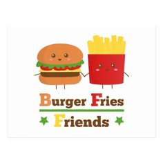 La hamburguesa del dibujo animado de Kawaii fríe a Postal de Zazzle.