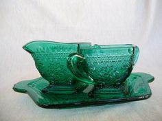 Vintage Teal Sandwich  Indiana Glass by VickiesVintageVenue