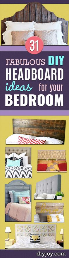 31 DIY Headboard Ideas for Your Bedroom - DIY Headboard Ideas – Easy and Cheap Do It Yourself Headboards – Upholstered, Wooden, Fabric Tu - Do It Yourself Headboards, Do It Yourself Furniture, Do It Yourself Home, Diy Furniture, Cheap Diy Headboard, Diy Headboards, Headboard Ideas, Headboard Pallet, Storage Headboard