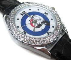 Happy New Year Gifts USFS166 New Leather Crystal Watch  SCOOTER VESPA LAMBRETTA MOD * More info could be found at the image url.