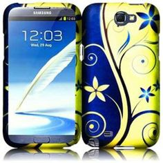 INSTEN For Samsung Galaxy S Note 2 N7100(AT & T) Rubberized Design Case - Royal Swirl