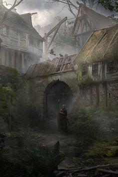 "fantasy-art-engine: ""Murky Village by Marco Gorlei "" Fantasy Village, Fantasy Town, Fantasy Rpg, Medieval Fantasy, Dark Fantasy Art, Fantasy World, Fantasy House, Fantasy Art Landscapes, Fantasy Landscape"