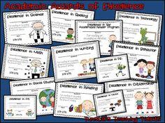 Tunstall's Teaching Tidbits: Academic Awards for Elementary Students End Of School Year, School Fun, School Stuff, School Ideas, Summer School, Kindergarten Graduation, Kindergarten Classroom, End Of Year Activities, Fun Activities
