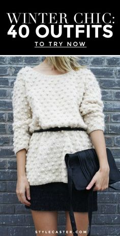 Winter Outfit Idea: Use a skinny belt to cinch an oversized sweater. mk handbags,mk,michael kors  mkbagsforcheap.tk