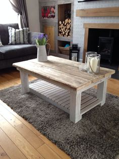 Reclaimed scaffold board coffee table. Perfect addition to any decor. Shabby chic, industrial, country or modern For Sale @ McCarthy Bespoke Furnishings (find us on facebook)