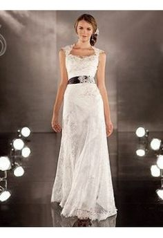 Lace Sweetheart Cap Sleeves with Long Simple Sash A-line 2 in 1 Wedding Gown