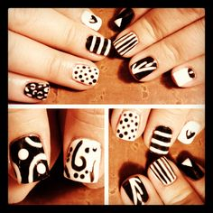 Black and white mixed print nails