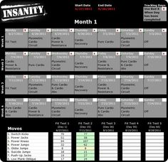 Print a detailed Insanity Workout Schedule and get started with the 60 day Insanity challenge. Same Insanity Workout Calendar that comes with the program. Insanity Workout Schedule, Workout Routines, Insanity Workout Calendar, Fitness Diet, Health Fitness, Plyometrics, Burn Calories, Calories Burned, Diet Motivation