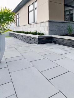Looking for beautiful, polished and practical pavers? Techo-Bloc's Blu 80 Smooth pavers instantly add character to your landscape or driveway. Modern Driveway, Driveway Design, Driveway Landscaping, Modern Landscaping, Landscaping Ideas, Patio Slabs, Concrete Patio, Backyard Patio Designs, Modern Backyard