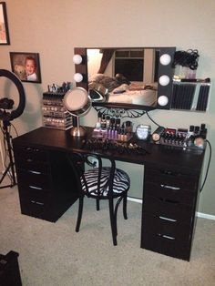 """My new Makeup Vanity upgrade. All parts from Ikea Linnmon Table Top 59"""" Alex 5 Drawer Black/Brown Not happy with the wall color. That is still in progress."""