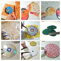DIY Coasters using fabric and old CDs Cd Crafts, Crafts To Make, Crafts For Kids, Arts And Crafts, Recycled Cds, Recycled Crafts, Diy Projects To Try, Craft Projects, Diy With Kids
