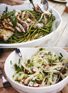 Bits of What We Ate. Pork Loin and Green Beans with Fennel, Radish & Almond Salad. YUM.