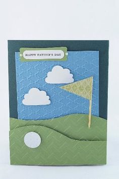 Handmade pull-out Father's Day golf course pocket card by rosemarie