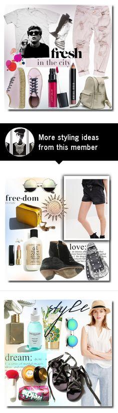 """Fresh"" by ira-melnik on Polyvore featuring Bobbi Brown Cosmetics, Garance Doré, Pink, denim, women and slipons"