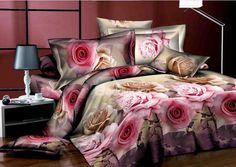 Romantic Pink Roses Flower Print 4 Piece Bedding Sets/Comforter Sets