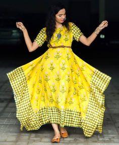 Beautiful Western cut cotton kurti with modern silhouettes. Frock Fashion, Girl Fashion, Fashion Dresses, Indian Designer Outfits, Designer Dresses, Indian Gowns Dresses, Stylish Dresses, Dress Patterns, Indian Fashion