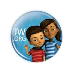 100 1.5 Inch JW.ORG Caleb and Sophia Buttons Pins.