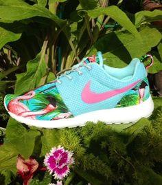 low priced d909f 87412 Nike Roshe Run Custom Pink Flamingo with Neon Swoosh