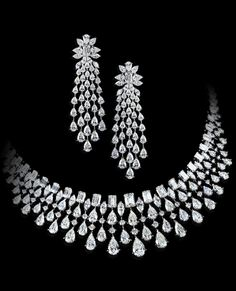 925 Sterling Silver CZ Highend Party Necklace with Matching Fine Dangle Earrings Diamond Earrings Indian, Diamond Chandelier Earrings, Real Diamond Necklace, Diamond Jewelry, Dangle Earrings, Pendant Necklace, Fancy Jewellery, Bridal Jewellery, Indian Jewelry Sets